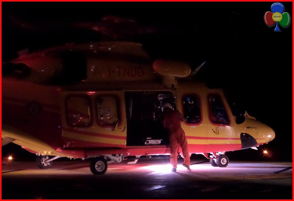 elisoccorso notturno Grave incidente nella notte sulla strada per Bellamonte