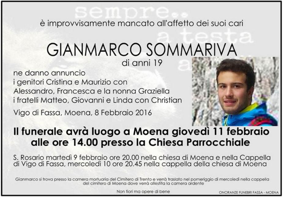 gianmarco sommariva necrologio Gianmarco Sommariva muore in seguito allincidente di sabato