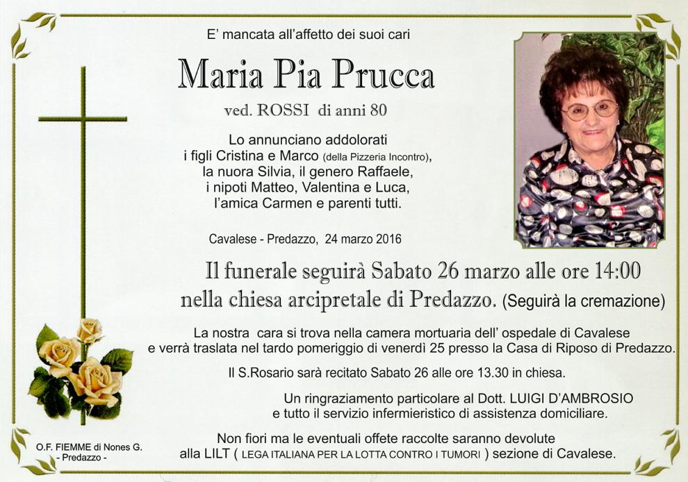 maria pia prucca Necrologio, Marua Pia Prucca ved. Rossi