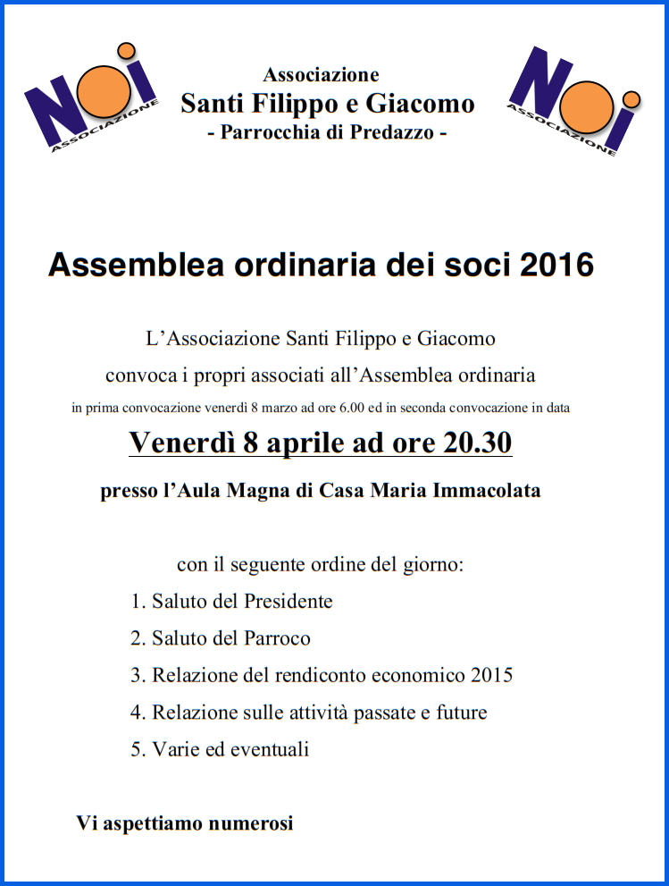 associazione noi assemblea Avvisi Parrocchia 3/10 aprile   Video don Lauro Tisi