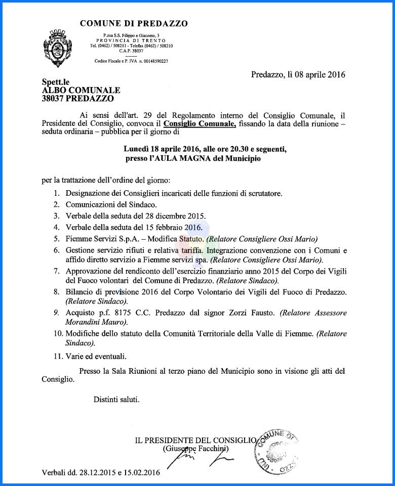 consiglio comunale aprile 2016 Convocazione Consiglio Comunale 18 aprile 2016