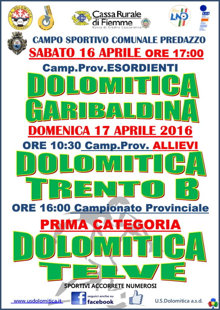 dolomitica garibaldina 726x1024 Dolomitica Calcio, 3 partite nel weekend