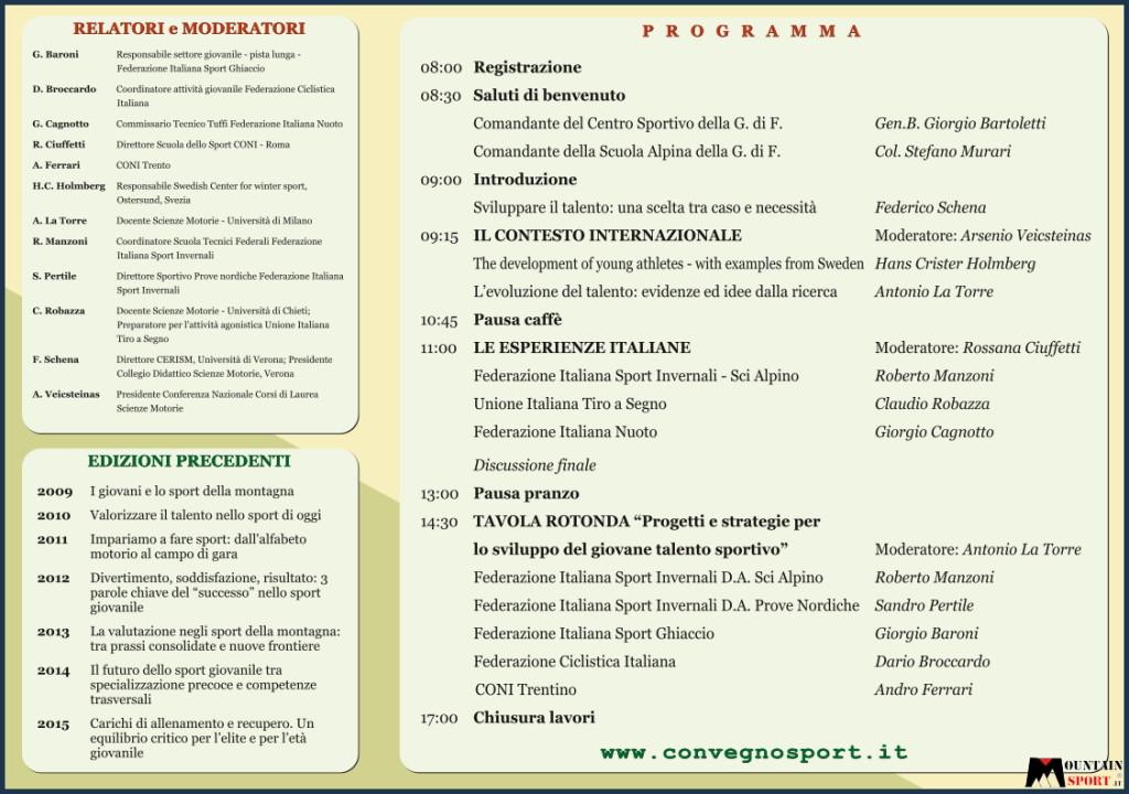 giovani e sport di montagna convegno predazzo 2016 programma 1024x720 8° Convegno Nazionale Giovani Sport e Montagna