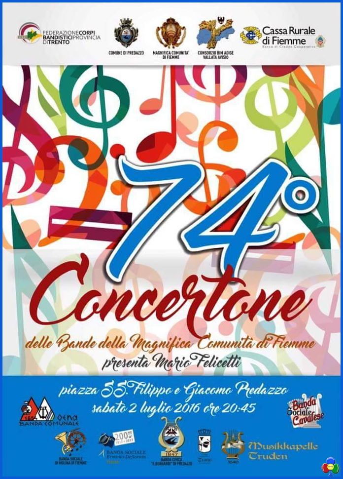 concertone bande fiemme predazzo 2016 74° Concertone delle Bande di Fiemme