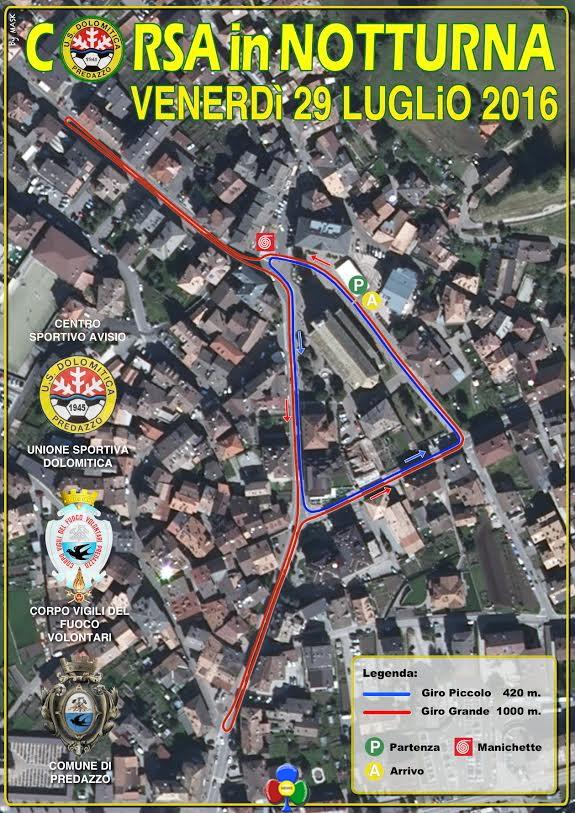 Cartina Percorso CORSA in NOTTURNA2016 Corsa Notturna 2016 a Predazzo