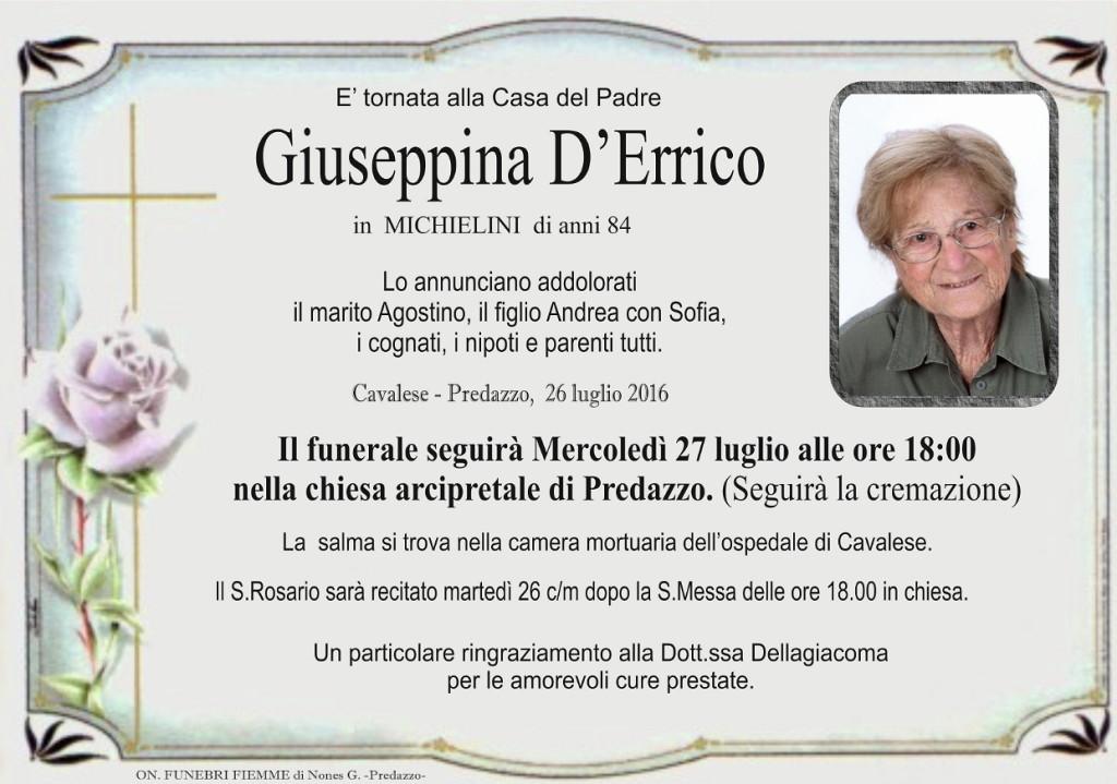 giuseppina derrico 1024x719 Necrologi: Giorgio Tescari e Giuseppina DErrico