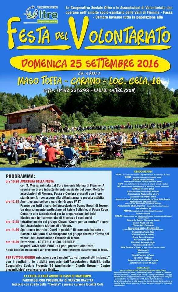 festa del volontariato fiemme 2016 Festa del Volontariato di Fiemme, Fassa e Cembra