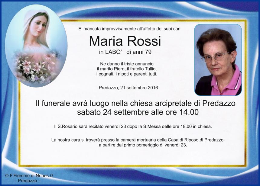 maria rossi1 Necrologio, Maria Cavada dal Piaz