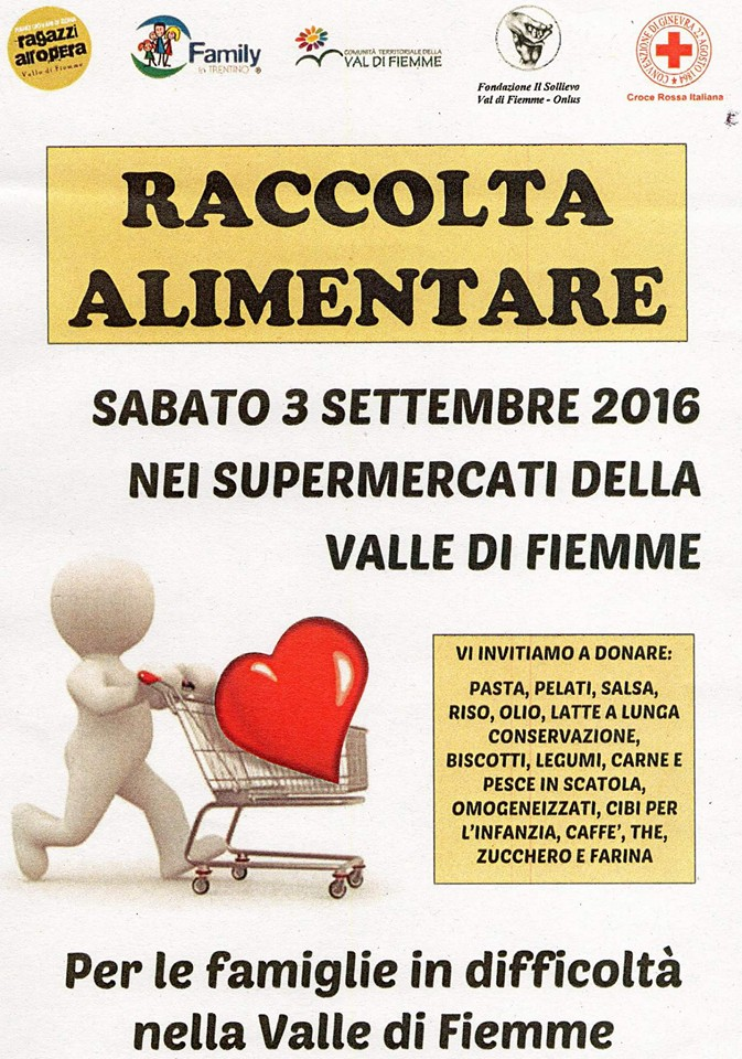 raccolta alimentare fiemme Raccolta alimentare 3 settembre, Fiemme for Fiemme