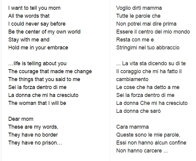 cara mamma lirics Cara Mamma Lyrics by Fiamma Boccia   Video