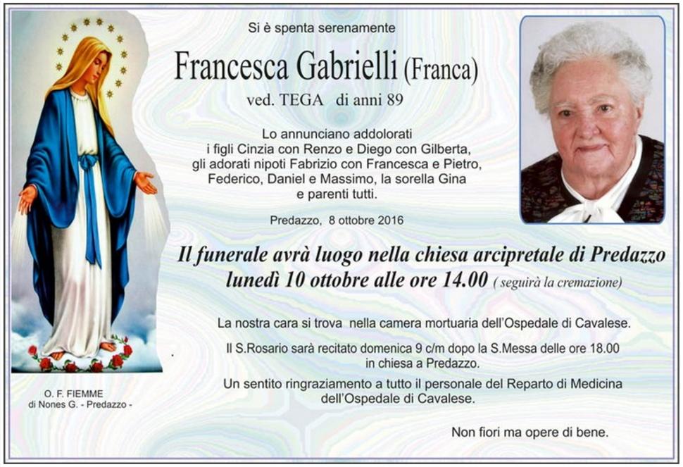 francesca gabrielli Avvisi Parrocchiali 9 16 ottobre