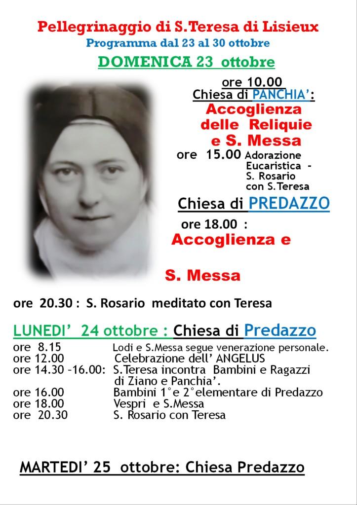 pagina01 723x1024 Avvisi Parrocchia 16 23 ottobre   Le reliquie di S. Teresina