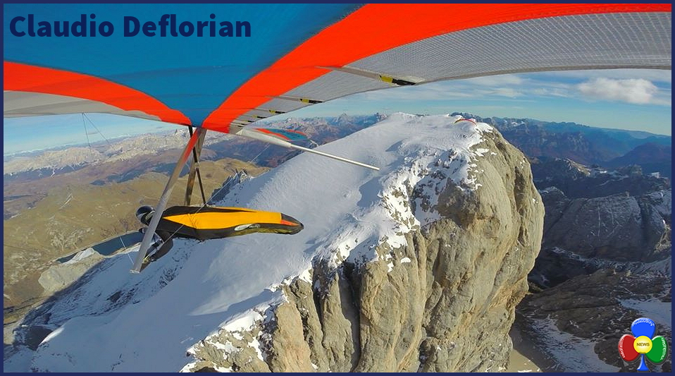 claudio deflorian deltaplano marmolada Claudio Deflorian, volare sopra i sogni con il deltaplano