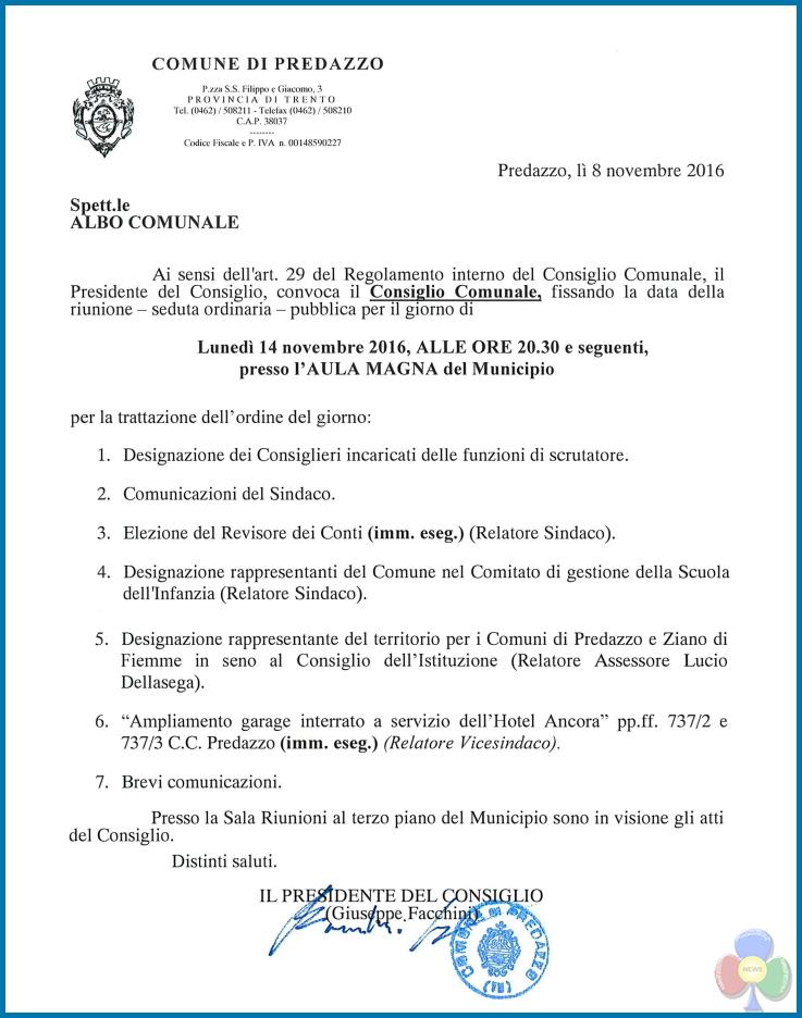 consiglio comunale nov 2016 Convocazione Consiglio Comunale, lunedì 14 nov. 2016