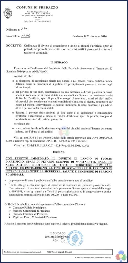 ordinanza divieto fuochi artificio predazzo 2016 499x1024 Ordinanze comunali di divieto accensione fuochi dartificio