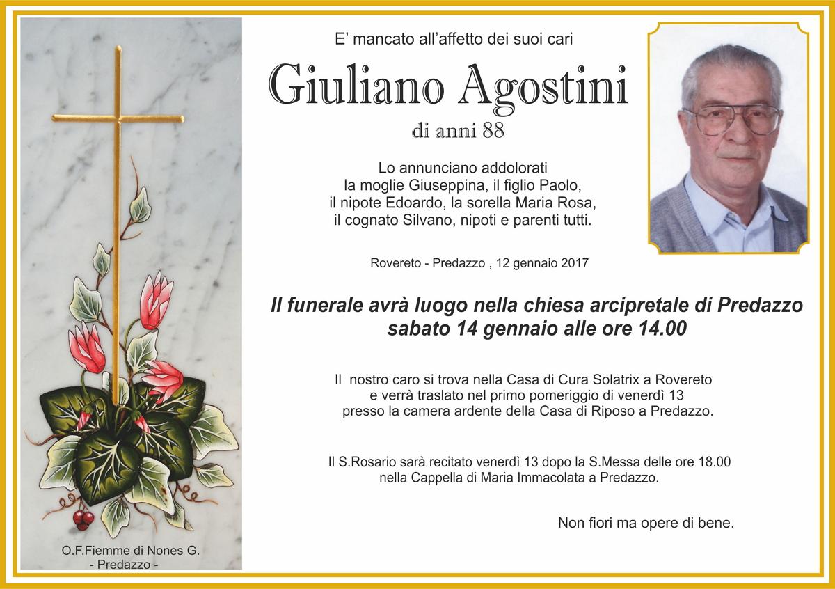 Agostini Giuliano Necrologio, Agostini Giuliano di anni 88