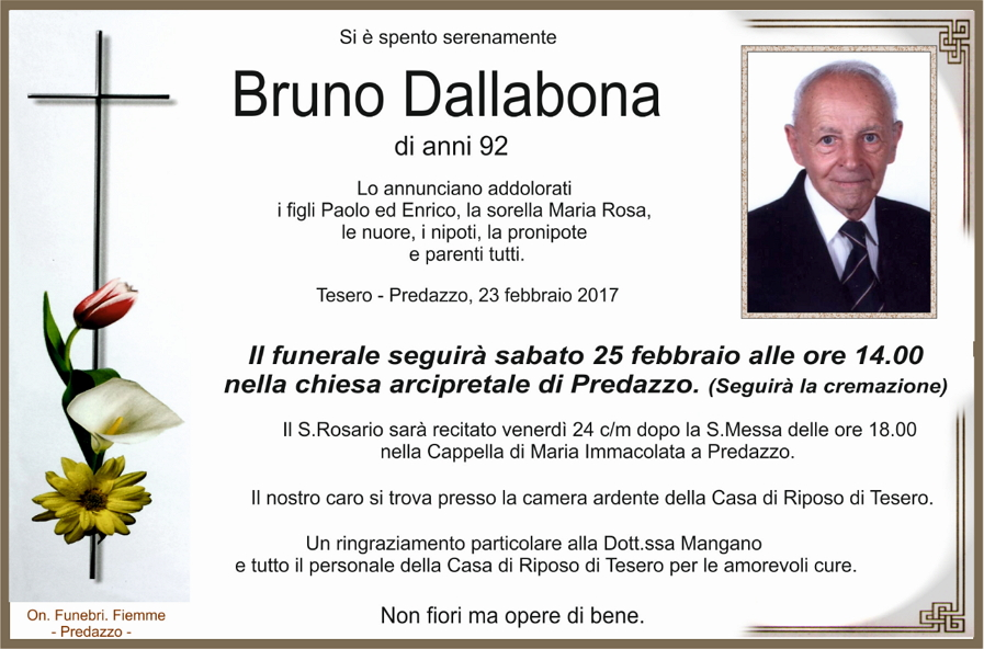 bruno dallabona Necrologi, Luigia Giongo e Bruno Dallabona