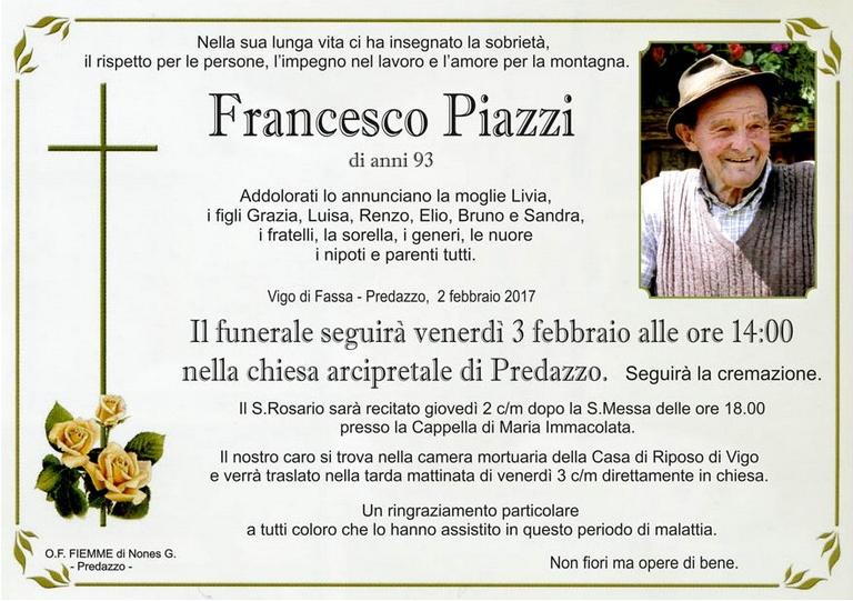 francesco piazzi medil Necrologio, Francesco Piazzi  (medil)