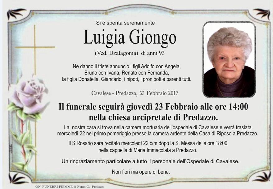 luigia giongo Necrologi, Luigia Giongo e Bruno Dallabona