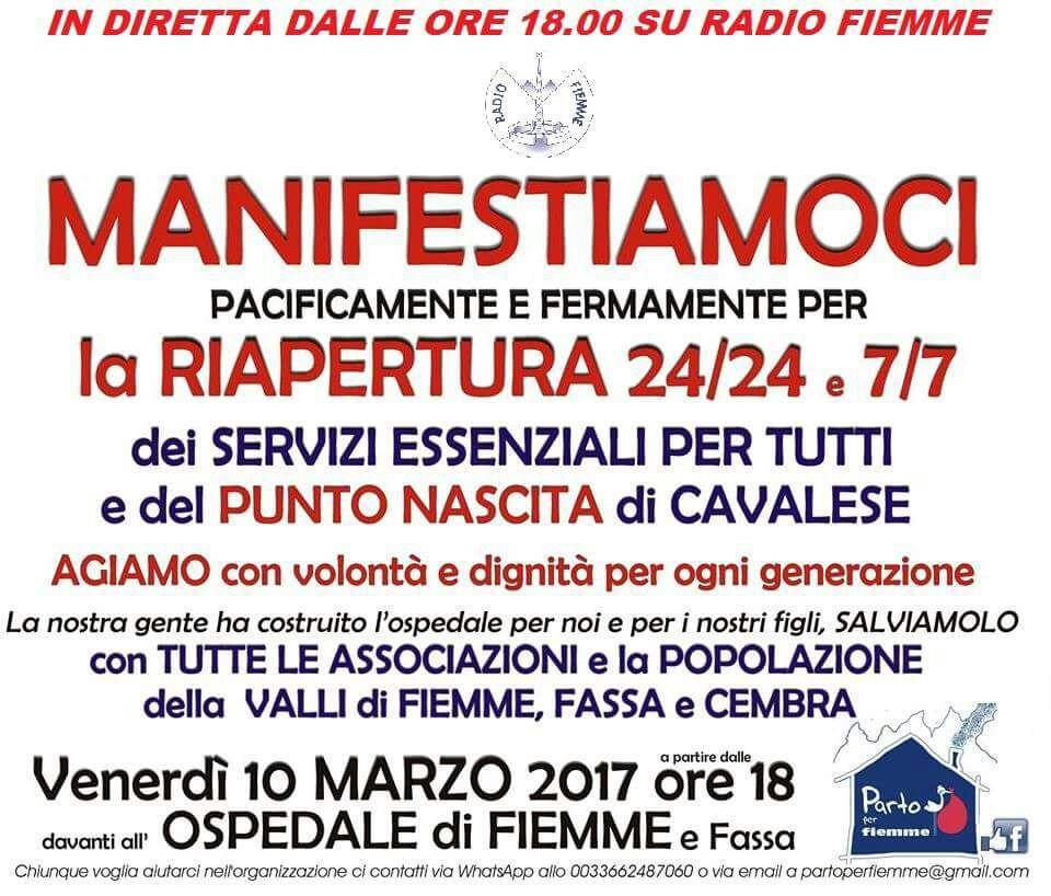 diretta radio fiemme manifestazione parto per fiemme MANIFESTIAMOCI VENERDÌ 10 MARZO ore 18 davanti all'OSPEDALE DI FIEMME (e FASSA)