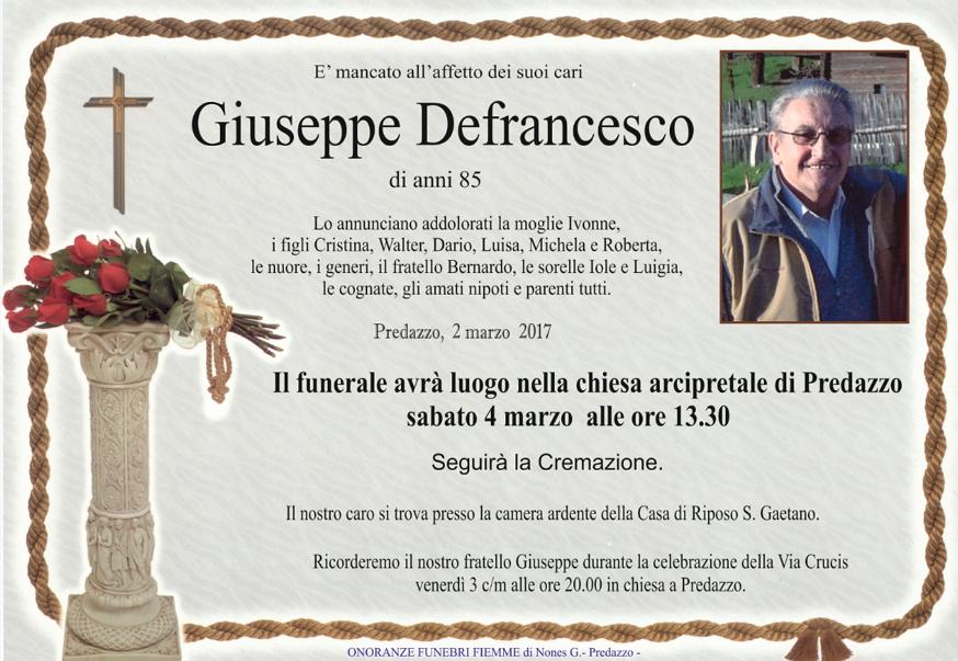 giuseppe defrancesco Necrologio, Giuseppe Defrancesco