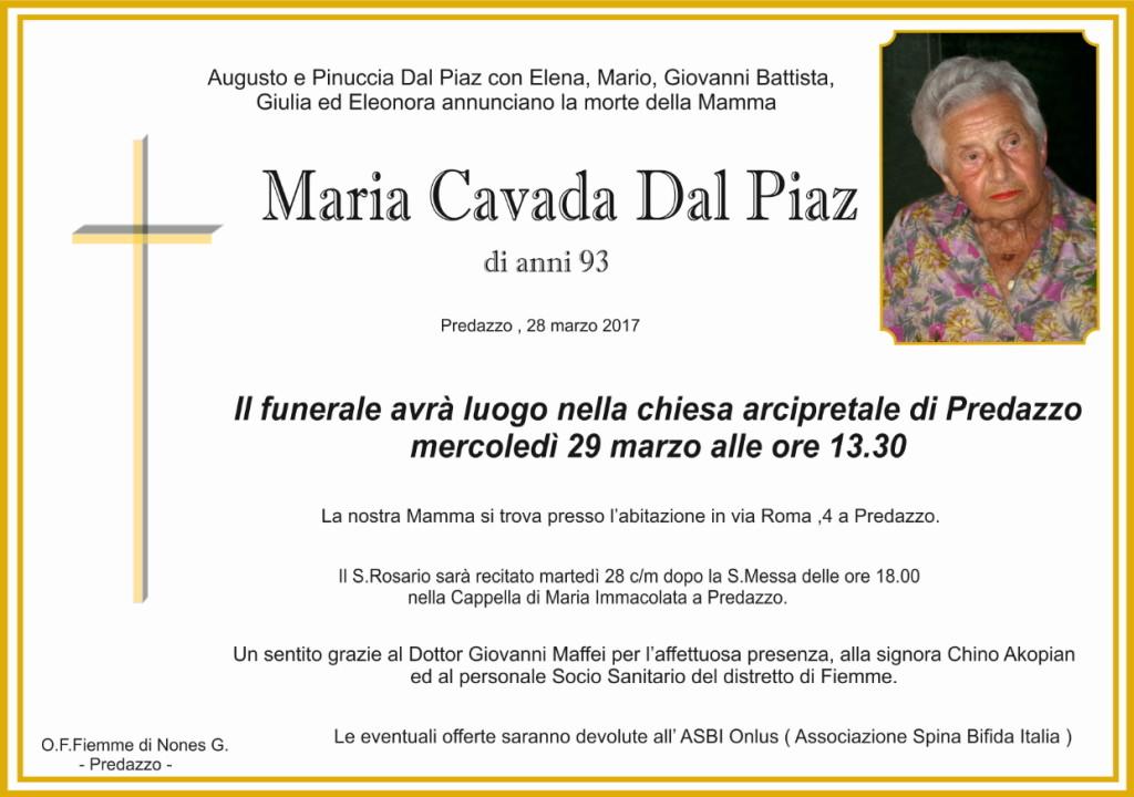 maria cavada dal piaz 1024x720 Necrologio, Maria Cavada dal Piaz
