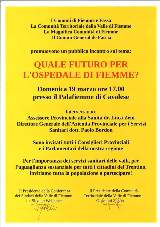quale futuro per lospedale di fiemme Mamme delle Valli UNITE PER LA VITA!