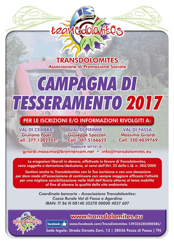 locandina tesseramento transdolomites 2017 Assemblea dei Soci di Transdolomites a Predazzo