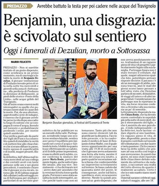 benjamin dezulian articolo Necrologi Benjamin Dezulian   Giulia Nobile