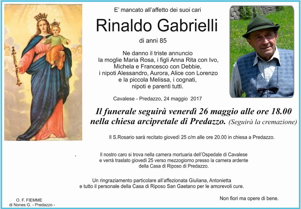 rinaldo gabrielli Necrologio, Rinaldo Gabrielli