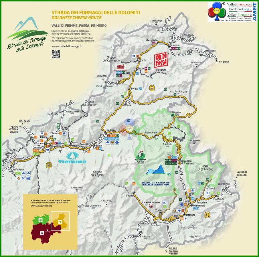 strada dei formaggi dolomiti cartina Strada dei formaggi delle Dolomiti in costante crescita