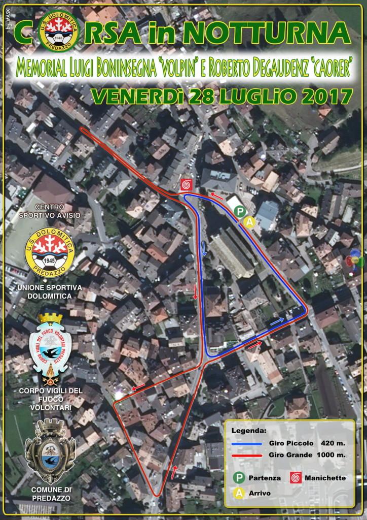 Corsa Notturna 2017 predazzo tracciato 724x1024 La Corsa in Notturna 2017 dedicata a Luigi e Roberto