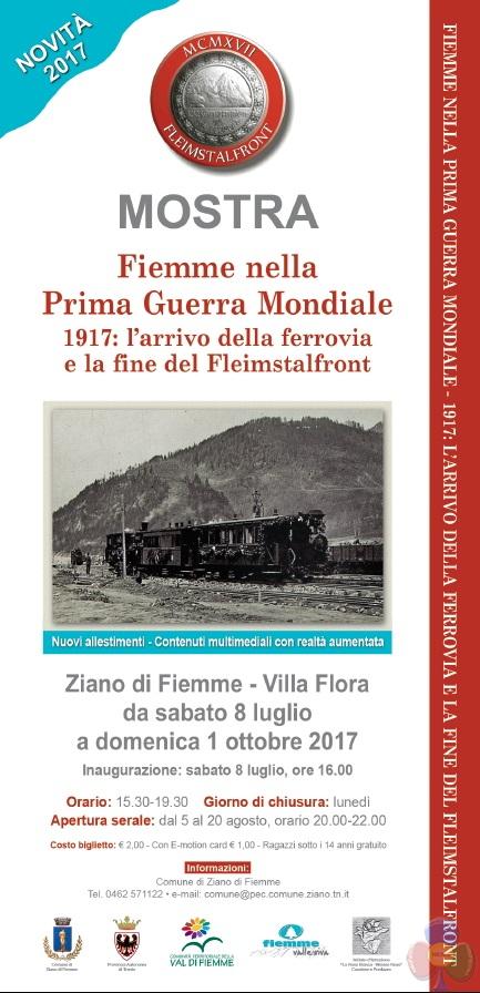Locandina Villa Flora 2017 1917, dalle mine di Colbricon al trenino di Fiemme