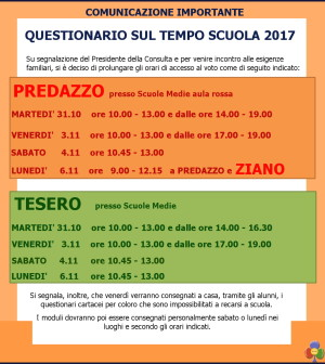nuovi orari votazione tempo scuola 2017 predazzo tesero ziano panchià predazzoblog
