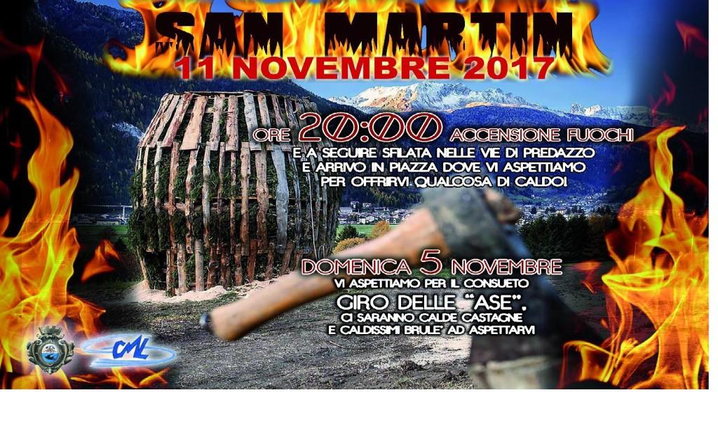 san martin 2017 manifesto 1024x604 Fuochi di San Martin 11 novembre 2017 a Predazzo