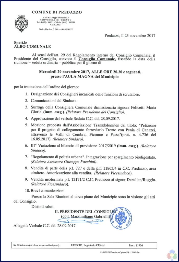 consiglio comunale nov 17 701x1024 Convocazione del Consiglio Comunale 29 novembre