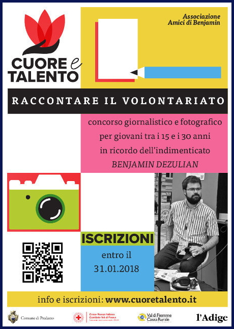 concorso cuore talento benjamin dezulian Concorso «Raccontare il volontariato» in ricordo di Benjamin Dezulian