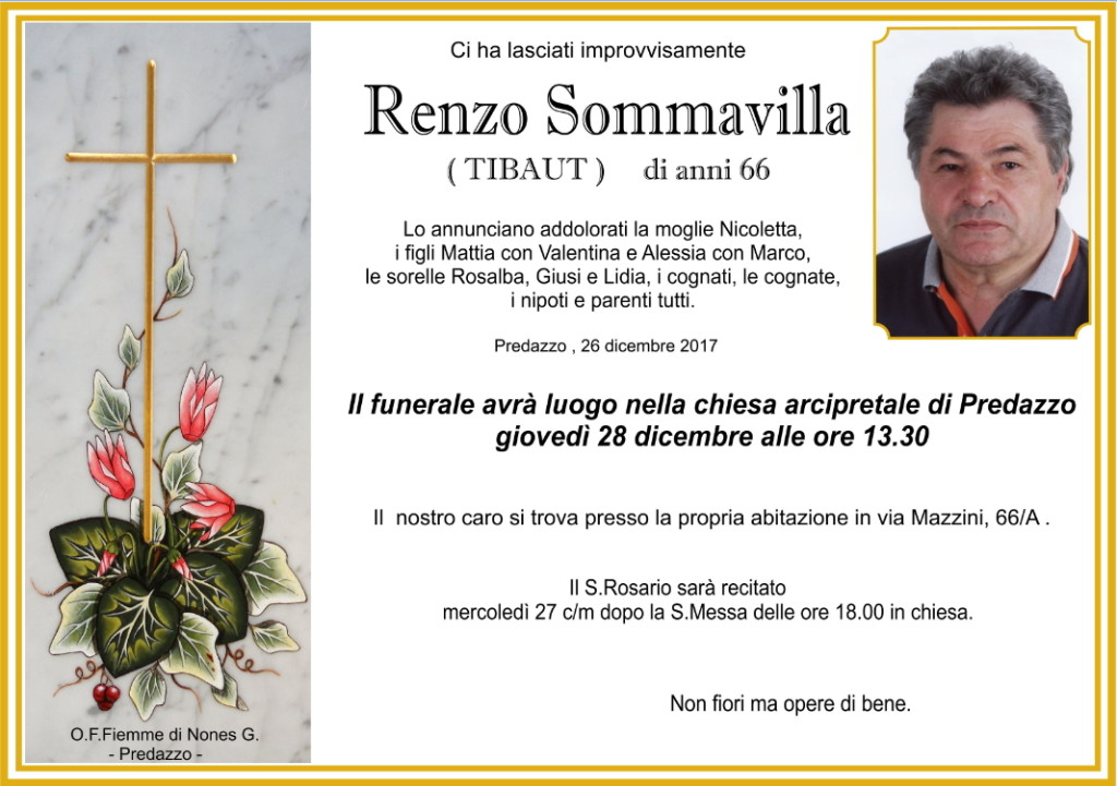 renzo sommavilla 1024x721 Necrologio, Renzo Sommavilla (tibaut)