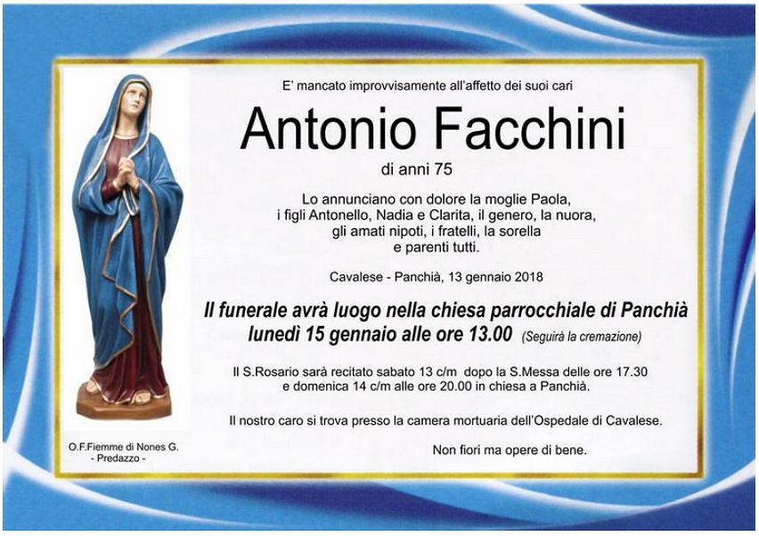 antonio facchini Avvisi Parrocchie 14/21 gennaio   Necrologio Antonio Facchini