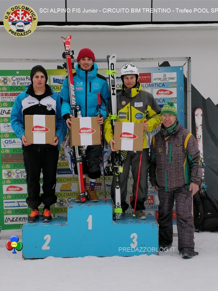 podio aspiranti masch 20 01 18 Splendido SCI ALPINO FIS Junior al Latemar con US. Dolomitica