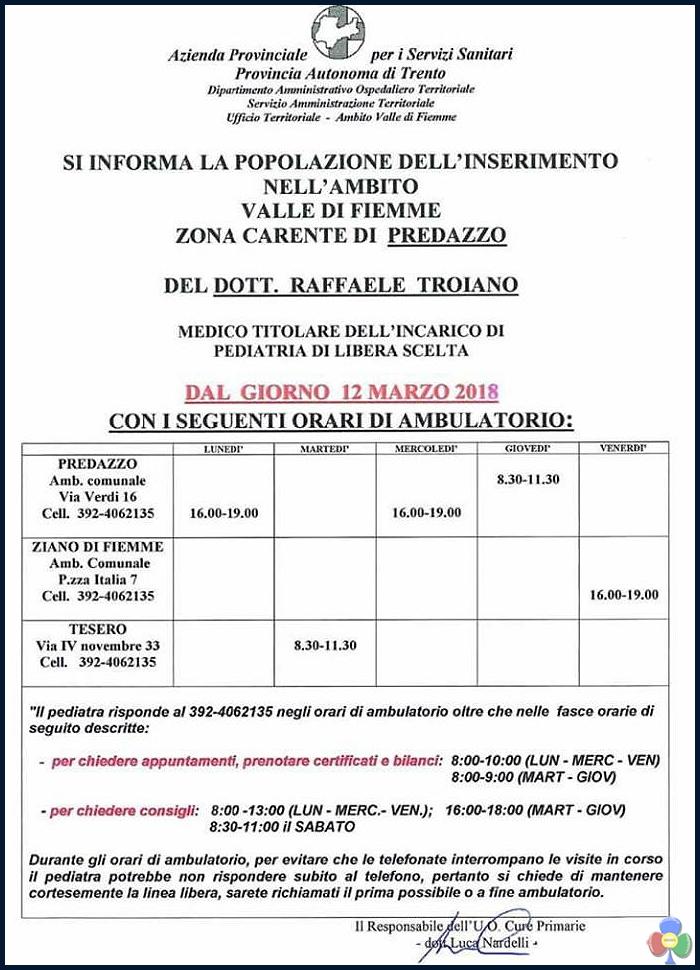 raffaele troiano pediatra fiemme orari Inserimento nuovo pediatra di libera scelta dott. Raffaele Troiano