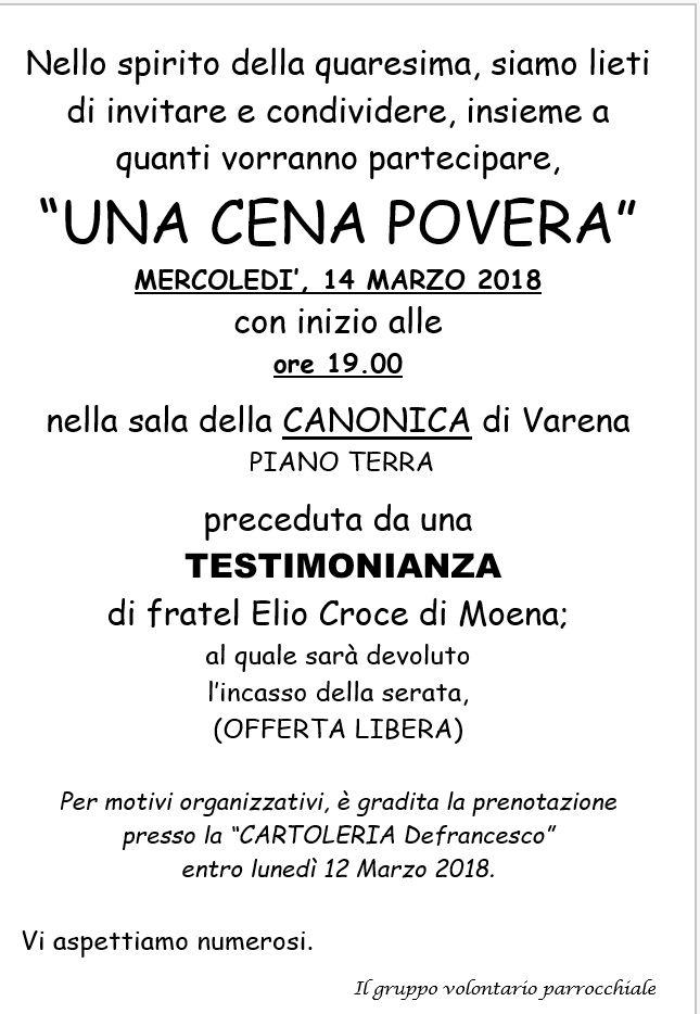 cena povera varena Avvisi Parrocchie Fiemme e Fassa 11   18 marzo