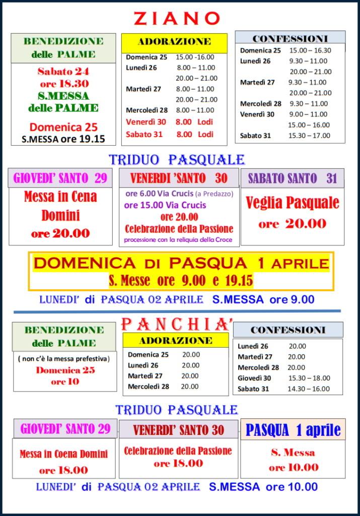 orari messe pasqua fiemme 2018 a 715x1024 Orari Settimana Santa e bollettino parrocchiale 1 2018