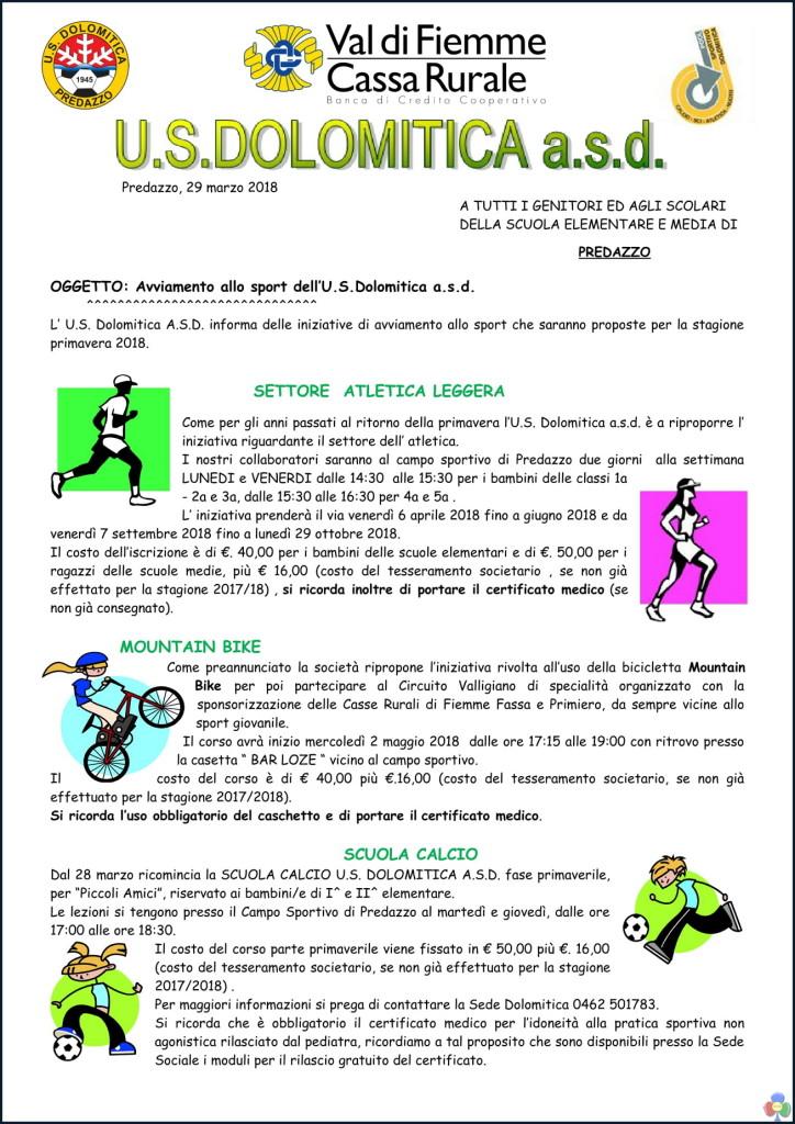 corsi primavera 2018 ultima versione multidisciplinare 1 724x1024 Us Dolomitica, iniziative di avviamento allo sport 2018