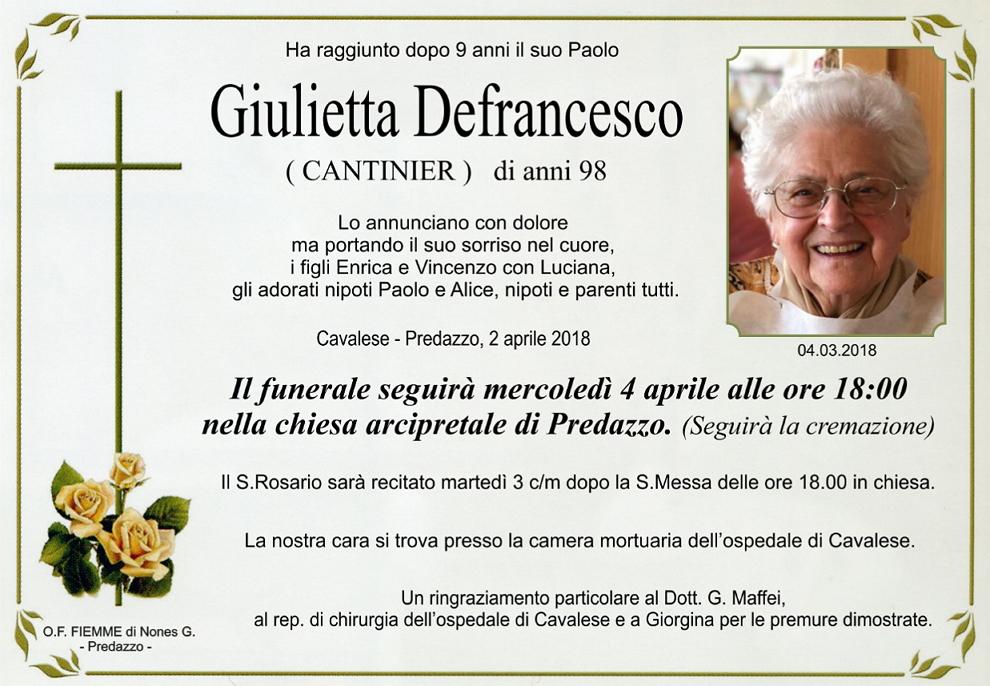 giulietta defrancesco Avvisi Parrocchie 1 8 aprile. Necrologio Giulietta Defrancesco
