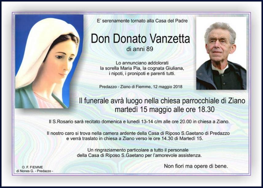don donato vanzetta necrologio Addio a don Donato Vanzetta
