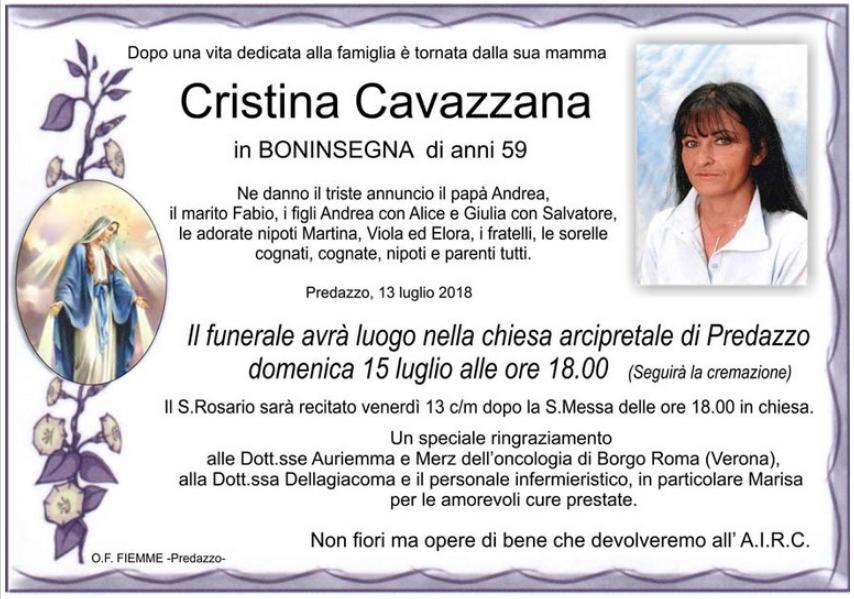 cristina cavazzana Avvisi Parrocchie. Necrologio, Cristina Cavazzana in Boninsegna