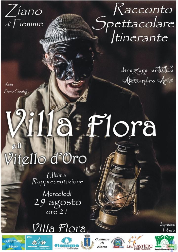 """Locandina Villa Flora e il Vitello d Oro 29 Agosto web 722x1024 """"VILLA FLORA e il Vitello dOro"""" Spettacolo Itinerante a Ziano di Fiemme"""