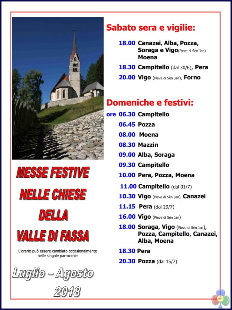 orario messe festive fassa estate 2018 767x1024 Orari S. Messe in Fiemme e Fassa Estate 2018