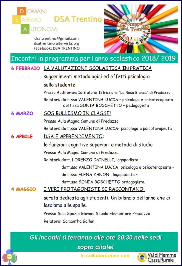 dislessia fiemme 701x1024 Dislessia, programma incontri anno scolastico 2018/2019